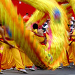 Chinese traditional custom waving blurred golden dragon — Stock Photo