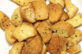 Closeup of delicious bread croutons — Stock Photo