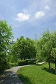 Winding Path through a Tranquil Verdant Garden — Stock Photo