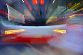 High speed bus radiant rays gives the forceful effect of visual impact — Stok fotoğraf