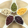 Various legumes with white spoon — Stock Photo