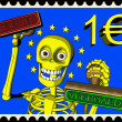 Stock Photo: Cartoon of postage stamp one EURO - bureaucracy in EuropeUnion