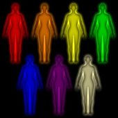 Simple background with colored Human energy body - aura — Stock Photo