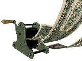 Cartoon of making money on the hand printing press — Stock Photo