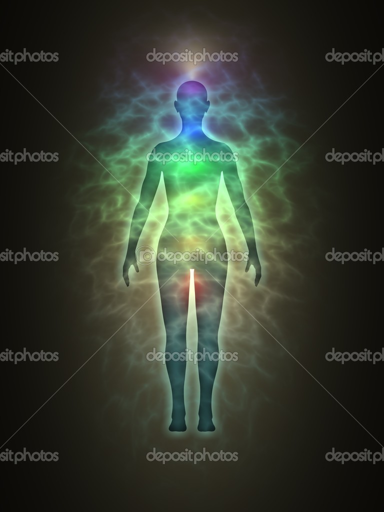 Illustration of human (woman) energy body silhouette with aura and chakras. Theme of Creation, healing energy, connection between the body and soul. — Stock Photo #7554249