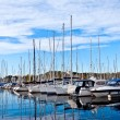 Yachts and boats in the harbor — Stock Photo