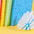 Multi color sponges and brush — Stock Photo