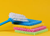 Brush and multi color sponges — Stock Photo