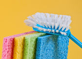 Brush and sponges — Stock Photo