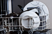 Clean dishes in the dishwasher — Foto Stock