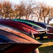 Bottoms of wooden boats - Foto Stock