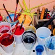 Stock Photo: Paint in plastic cups