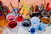 Paint in plastic cups — Stock Photo