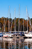 Boats Yachts and yachts boats in the harbor — Stock Photo