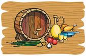 Fruit wine barrel — Stock Vector