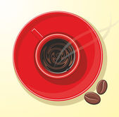 Red mug with coffee — Stock Vector