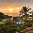 Sunset at tropical resort. — Stock Photo #7537079