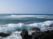 Volcanic rocks coastline on a sunny day. — Stock Photo