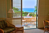 Ocean View from tropical resort room — Stock Photo