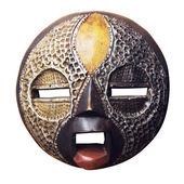African circular mask Ashanti isolated on white background — Stock Photo