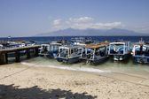 Boats at Menjangan island and view of Bali island — Stock Photo