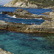 View upon rocks and sea in french riviera - Stock Photo