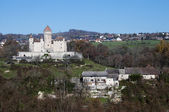 Medieval castle of Montrottier and villages, France — Stock Photo