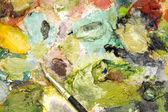 Pinturas al óleo mezclados y cepillo — Foto de Stock