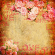 Grunge abstract background with roses - Stockfoto
