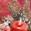 Lighting Chrismas candles - Stock Photo