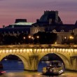 Paris view of the river Seine a sunset - Stock Photo