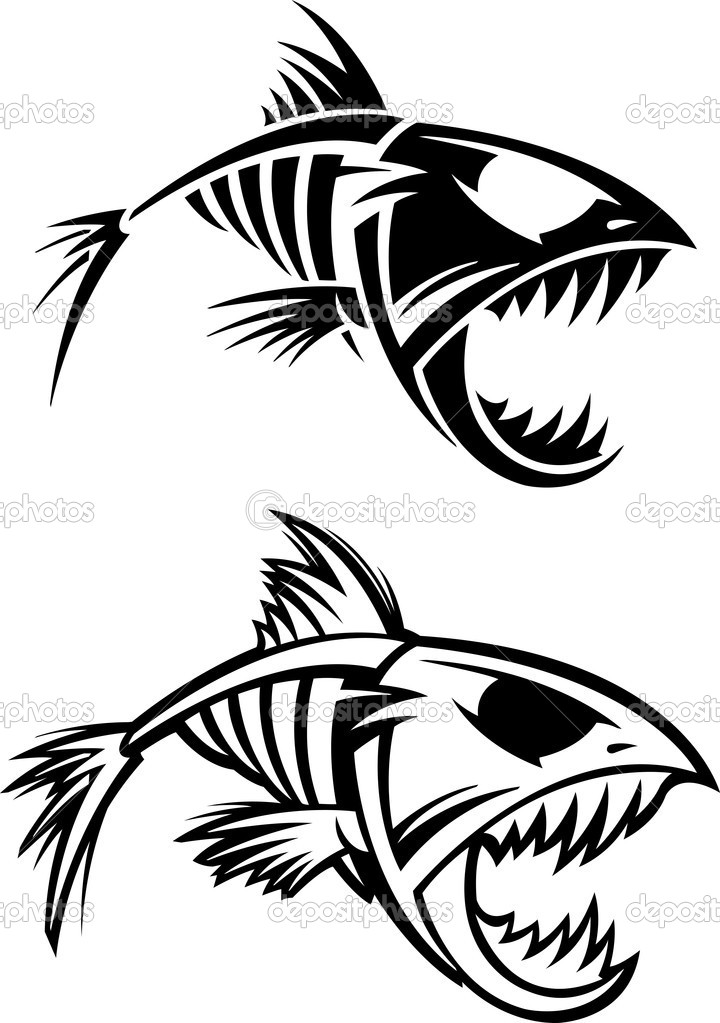 Fish Skeleton Drawing Fish Skeleton — Vector by