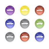Kolorowy samochód ikony — Wektor stockowy