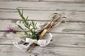 Scissors with rosemary and lavender — Stock Photo