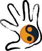 Hand Yin Yang — Stock Vector