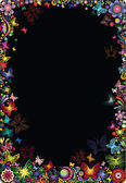 Floral frame with butterflies on a black background. — Stock Vector