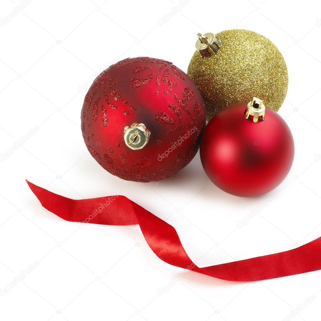 Christmas balls with ribbon isolated on white background — Stock Photo #7652582