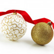 Royalty-Free Stock Photo: Christmas Gold Balls With Ribbon