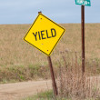 Yield Sign in Country — Stock Photo