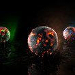 Globes in fire — Stock Photo