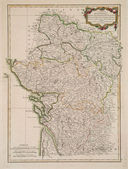 Antique colored map of France region. — Stock Photo