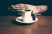 Hands with Turkish Coffee Dramatic Color — Stock Photo
