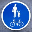 Bicycle and pedestrian sign — Stock Photo