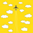 Stock Vector: Airplane in clouds background