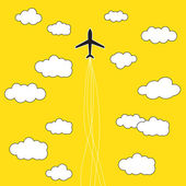 Airplane in the clouds background — Stock Vector