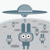 Attack of the grey aliens on your planet characters — Stock Vector