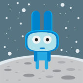 Blue alien on the moon character — Stock Vector