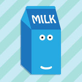 Carton of milk smiling character — ストックベクタ