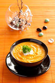 Pumpkin Cream Soup with parsley and cream — Stock Photo