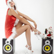 Happy smiling woman in red xmas sexy costume on white background — Stock Photo